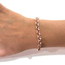 18K ROSE GOLD ROLO BRACELET 8.1 INCHES, ROUND 7 MM LINK, MADE IN ITALY image 3