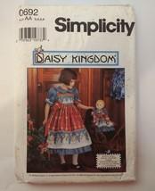 "Simplicity 0692 Size 3-6 Child's Dress Pinafore 17"" Doll Dress Daisy Kingdom - $11.64"