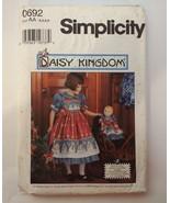 "Simplicity 0692 Size 3-6 Child's Dress Pinafore 17"" Doll Dress Daisy Kin... - $11.64"