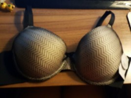 2 Bra Set Just Be Intimates Plus Black Beige Lace Print Bra 42 C - $10.40