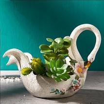Worila Beautiful White Swan Shape Succulent Plant Pot Modern Handmade Re... - $24.88