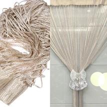 String Curtain Silver Leather Line Door Window Panel Divider Yarn Tassel... - $9.99