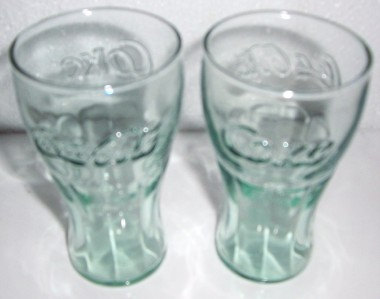 LIBBEY Coca-Cola (4) Miniature Coke Light Green Color Orange Juice Glasses