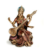 "SARASWATI STATUE 5.75"" Hindu Goddess Deity HIGH QUALITY Bronze Resin Ind... - $48.88"