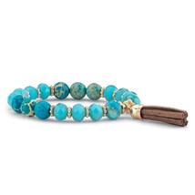 "Blue Simulated Turquoise 14k Gold-Plated Beaded Tassel Stretch Bracelet 8"" - $12.26"