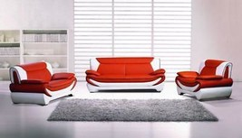 Modern Leather AE209-ORG-IV Orange Ivory 3 Pieces Living Room Sofa Set - $1,973.38