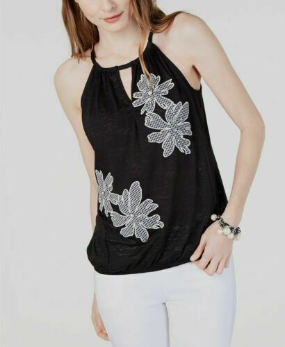 Primary image for INC International Concepts INC Women's Gingham-Floral Halter Black Top Size XS