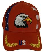 USA American Bald Eagle Patriotic Adjustable Baseball Cap RWB Piping RED - $11.95