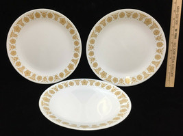 "Corelle Dinner Plates Butterfly Gold Set 3 White 10 1/8"" Diameter Vintage - $12.86"