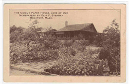 Paper House Made of Newspapers Rockport Massachusetts 1920s postcard - $6.93