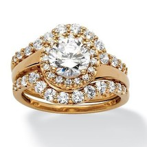 2.54 TCW CZ Bridal Ring 3-Pc. Set 18k Gold over .925 Silver - $54.24