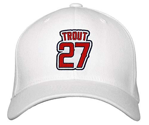 Mike Trout Hat - Los Angeles Baseball Adjustable Cap (White)