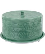 """13"""" SAGE GREEN EMBOSSED  METAL CAKE STAND WITH COVERED DOME LID - $78.16"""