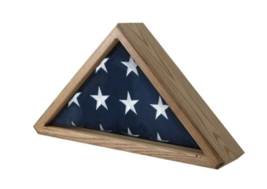 WOODEN FLAG DISPLAY CASE MILITARY SHADOW BOX WALL MOUNT INCLUDED - $522.49
