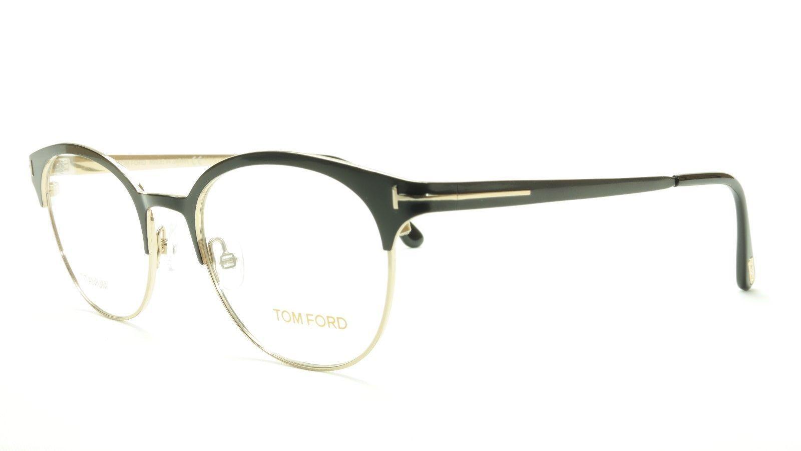 Tom Ford Eyeglasses Frame TF5382 005 Titanium Black Gold Made In Japan 50-19-145