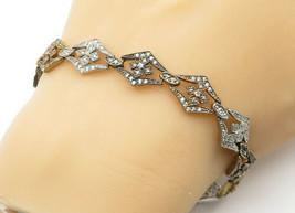 925 Sterling Silver - Vintage Topaz Floral Designed Link Chain Bracelet ... - $43.44