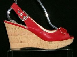 Franco Sarto 'Carnival' red peep toe buckle slingback cork platform wedges 9M image 8