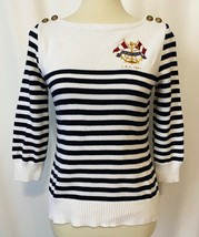 Womens Ralph Lauren Jeans Co. White Navy Striped Nautical Sweater Size S... - $26.99