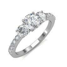 14K White Gold 0.85Ct Round Cut Diamond Three Stone Engagement Ring  - $1,162.84