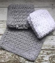Handmade Kitchen Dish Cloths Pewter Gray White Crochet Cotton Dishcloth ... - $18.75