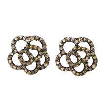 New Camellia Looking Champagne Diamond 925 Sterling Silver Earring SHER0286 - $57.87