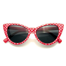 Gepunktet Cat Eye Damen Mode Mod Super Cat Sonnenbrille - $7.55
