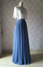 DUSTY BLUE Full Tulle Skirt Dusty Blue Wedding Tulle Skirt Outfit T1862 image 2