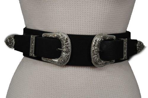 Damen West Doppel Silber Metallschnalle Schwarzer Gürtel Elastische Bänder