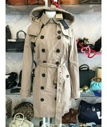 BURBERRY BRIT Tan/Khaki Button Up Belted & Hooded Trench Coat Sz 12 $109... - $742.40