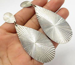 925 Sterling Silver - Vintage Art Deco Design Tear Drop Dangle Earrings - E3095 - $67.83