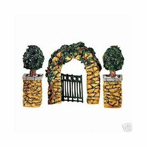 Primary image for Dept 56 Dickens Snow Village  Stone Corner Posts, Holly Tree, Stone Archway 5264