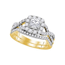 14kt Yellow Gold Princess Diamond Bridal Wedding Engagement Ring Set 1.00 Ctw - $1,698.00