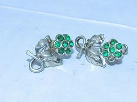 Vintage Sterling Emerald Flower Leaf Rhinestone Screw Back Earrings - $12.16