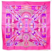 Hermes Carre 90 Scarf Stole Pink Purple Silk 100% Woman Auth New Unused Rare - $364.34