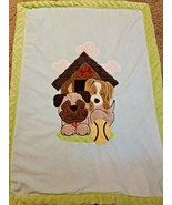 Little Miracles Baby Blanket Puppy Dog Ball Doghouse Green Brown Red Clouds - $20.30