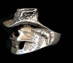 Men Skull Biker Sterling Silver Vintage Ring w Gun & Flag Size 10 Cowboy  - $88.00