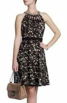 $398 Elie Tahari Bryce Knotted Cutout Neckline Printed Fit & Flare Dress 8 - $130.50