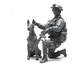 Miniature 1/35 US Navy Seal Commando & Dogs Resin Model Figure Kit LOO-29 - $32.00