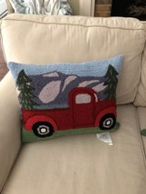 Hand Hooked Pillows Pair Red Truck NWT - $142.49