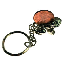 Vintage Frog with Penny Silver tone Metal Keychain Key Chain - $8.68