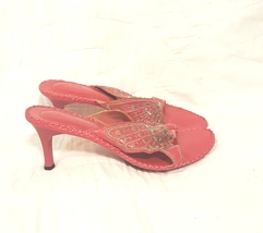 Anne Michelle Pink Stitched Butterfly Design Sequin Accent Sandal Size 7 Gata-01 - $9.00