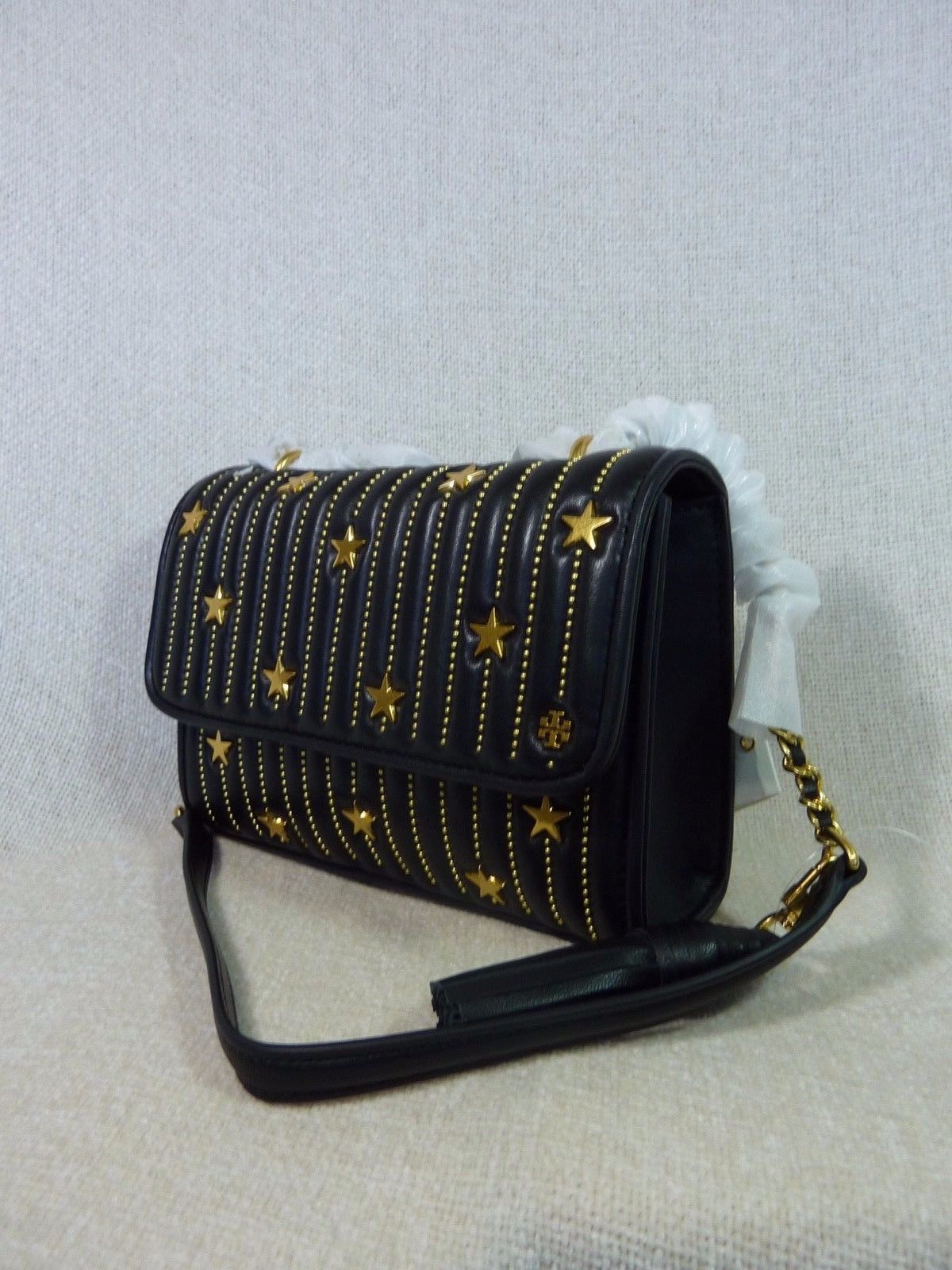 NWT Tory Burch Black Fleming Star-Stud Small Convertible Bag $558 image 2