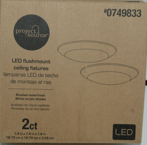 Project Source 0749833 LED Flushmount Ceiling Fixtures Brushed Nickel Pkg 2