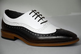 Handmade Men White & Black Wing Tip Brogues Leather Oxford Shoes image 2