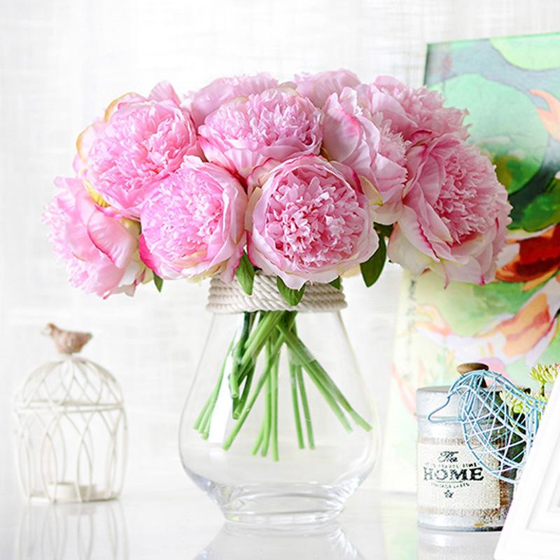 Uquet peony dahlias artificial flowers fall vivid fake wedding flower bridal bouquets decoration