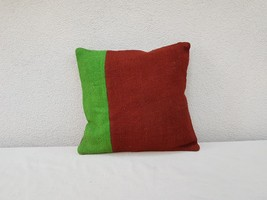 16'' X 16'' Vintage Handmade Green Color Outdoor Wool Kilim Pillow Cover - £20.40 GBP