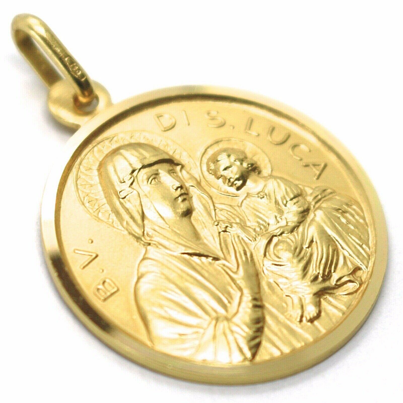 SOLID 18K YELLOW GOLD MEDAL, BLESSED VIRGIN OF SAINT LUCA LUKE, 21 mm DIAMETER