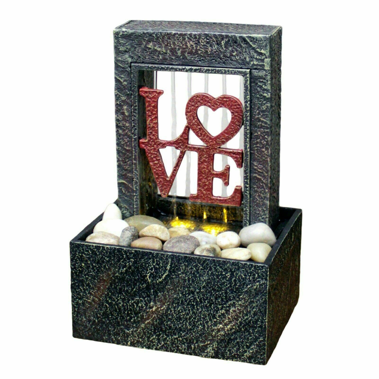 Soothing Relaxing Raining Heart Love LED Fountain Desk Indoor Water Fountain ZEN - $39.59