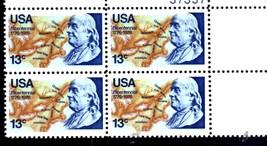 USPS Stamps -  BICENTENNIAL 1976 BENJAMIN FRANKLIN (Plate Block 4:  3 Ce... - $2.95