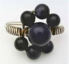 Goldstone Black Onyx Gemstone Bead Silver Wire Wrap Ring sz 7.5 - $10.08